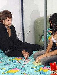 Hot college girl getting naked in her snug bedroom